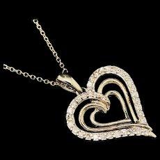 "1990's Vintage 10K Yellow Gold 0.35ctw H-SI Round Cut Diamond Heart Pendant w/14K Chain Necklace-16"""
