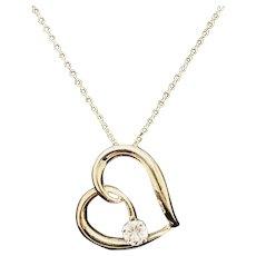 "1990's Vintage 14K Yellow Gold 0.15ct G-VS2 Round Cut Diamond Solitaire Open Heart Slider Pendant Chain Necklace-16"""