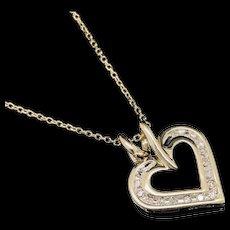 "1990's Vintage 10K Yellow Gold 0.25ctw H-SI Round Cut Diamond Open Heart Pendant w/14K Chain Necklace-16"""