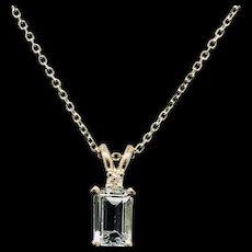 """1990's Vintage 14K Yellow Gold 0.52ctw Emerald Cut Blue Topaz & Diamond Accent Pendant Necklace-16"""""""