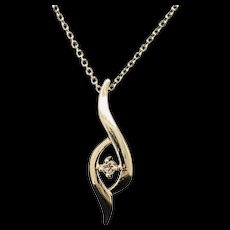 "1990's Vintage 14K Yellow Gold 0.03ct G-VS2 Round Cut Diamond Solitaire Pendant Chain Necklace-16"""