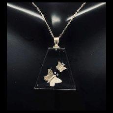 "1990's Vintage 14K Yellow Gold 0.05ctw G-VS Round Cut Diamond 2 Butterflies See Thru Pendant Chain Necklace-16"""