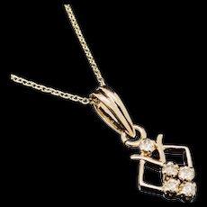 "1990's Vintage 18K Yellow Gold 0.15ctw G-VS2 Round Cut Diamond Dangle Pendant w/14K Chain Necklace-16"""