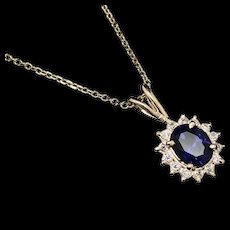 """1990's Vintage 14K Yellow Gold 0.75ctw Oval Cut Synthetic Sapphire & CZ Accent Pendant Necklace-16"""""""