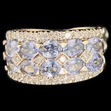 1990's Vintage 14K Yellow Gold 1.80ctw Oval Blue Tanzanite & Diamond Accents Cocktail Ring 5
