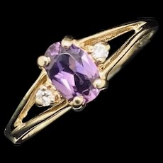 1990's Vintage 14K Yellow Gold 0.50ctw Oval Cut Amethyst & Round Diamond Accents Cocktail Ring 6