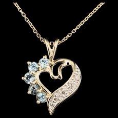 "1990's Vintage 10K Yellow Gold 0.30ctw Round Cut Blue Topaz & Diamond Open Heart 14K Necklace-16"""