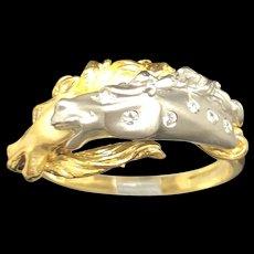 18k Carrera y Carrera Two Tone Gold Round Diamond Horse Unisex Ring