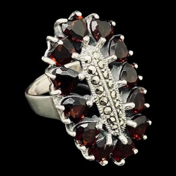 1990's Vintage Sterling Silver 925 5.50ctw Heart Red Garnet w/Marcasite Accents Cocktail Ring 6
