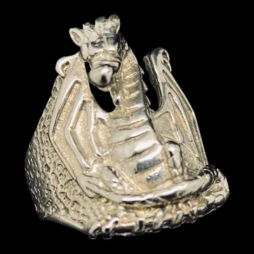 1990's Vintage G & S Silver Plated Large Dragon Statement Ring 13