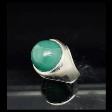 1990's Vintage Sterling Silver 925 Large Round Green Onyx Cocktail Band Ring 4.5