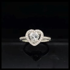 1990's Vintage Sterling Silver 925 1.00ctw Heart Cut Cubic Zirconia w/Accent Engagement Ring 9