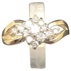 14K Yellow Gold 0.50cttw Diamond Cluster Cocktail Ring sz 6