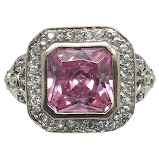 1990s Solid Sterling Silver 925 Cubic Zirconia 4.00ct Pink Ice Cocktail Ring Sz 10