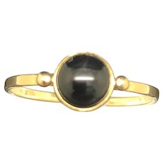 18K Yellow Gold Natural Round Black Onyx Bezel Solitaire Ring 6