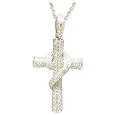 14K White Gold 1.50ctw G-VS Round Cut Natural Diamond Cross Pendant Necklace