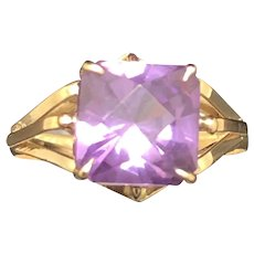 10K Yellow Gold Princess Cut Amethyst Solitaire Ring