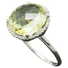 14K White Gold 7.00ctw Round Natural Peridot Solitaire w Diamond Accent Ring 8