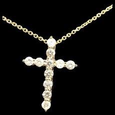 """14K Yellow Gold 0.75ctw Round Diamond Religious Cross Pendant Necklace-16"""""""