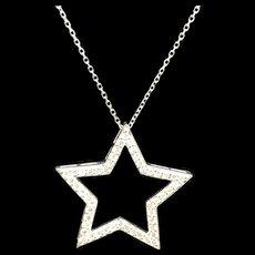 "1990's 14K White Gold 0.60ctw F-VS1 Round Cut Natural Diamond Star Pendant Necklace-16"""