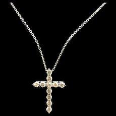 "1990's 14K White Gold 1ctw Round Diamond Religious Cross Pendant Necklace-16"""