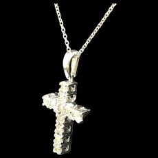 "1990's 14K White Gold 1.25ctw Round Diamond Religious Cross Pendant Necklace-16"""
