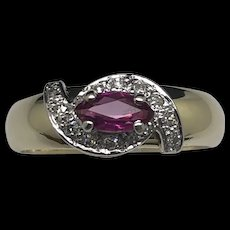14K Yellow Gold 0.35ctw Marquise Red Ruby w/Natural Diamond Accent Cocktail Ring