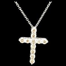 "14K White Gold 2.5ctw Round Diamond Religious Cross Pendant Necklace-16"""