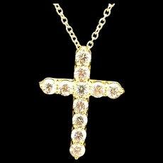 """1990's 14K Yellow Gold 2.50ctw Round Diamond Religious Cross Pendant Necklace-16"""""""