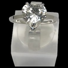14K White Gold Cubic Zirconia Heart Shape Solitaire Engagement Ring 7.5
