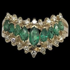1990's 14K Yellow Gold 3.00ctw Natural Green Marquise Emerald & Diamond Ring 9.75