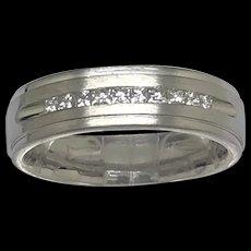 1990's Platinum Princess Cut Natural Diamond Wedding Band Ring 5.5