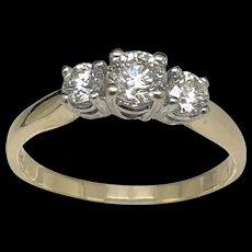 14K Gold 1.00ctw Round Cut 3-Stone Diamond Engagement Ring sz 8.25