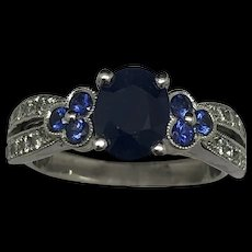1990's 14K White Gold 2.56ctw Oval Cut Sapphire w/Round Diamond Cocktail Ring 6.5