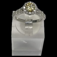 1990's 14K White Gold 1.60ctw Round Yellow Diamond Cocktail Ring 5.5