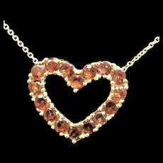 "14K Yellow Gold 2.00ctw Round Cut Red Garnet Open Heart Pendant Necklace-16"""
