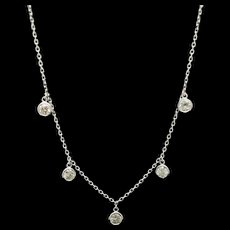 "14K White Gold 1.00ctw G/VS1-SI1 5 Drop Round Cut Diamonds Chain Necklace-17"""