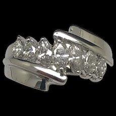14K White Gold 1.25ctw Marquise Cut Natural Diamond Wedding Band Ring 6.75
