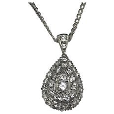 "18K White Gold 3.50ctw F-VS1 Round Diamond Tear Drop Pendant Chain Necklace-16"""