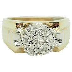 Solid 10K Two-Toned Gold 0.15cttw H-SI Round Natural Diamond Mens Ring 10