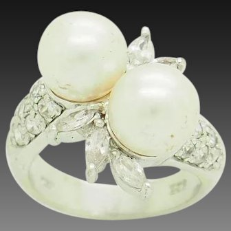 1990's Vintage Sterling Silver/925 8mm Pearl w/Round & Marquise CZ Accents Flower Cocktail Ring 5