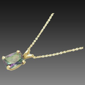"""1980's Vintage Solid 14K Yellow Gold 1.75ct Mystic Topaz Pendant Necklace-16"""""""