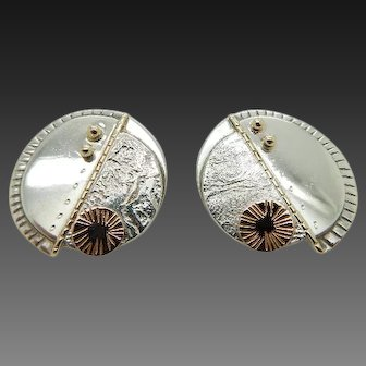 1980's Vintage Solid KYSS Sterling Silver/925 & 14K Yellow and Rose Gold Round Stud Earrings