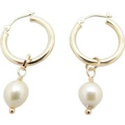 Solid 14K Yellow Gold Hoop w/7mm Dangle Natural Pearl Leverback Earrings