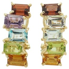 Solid Vintage 14K Yellow Gold 6.60ctw Multi-Color Topaz Gemstone Leverback Earrings