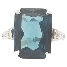 Vintage Solid Sterling Silver/925 Emerald Cut Solitaire 10ctw Blue Topaz Ring 5
