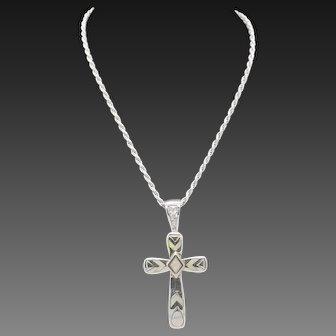 Solid Sterling Silver/925 Opal Cross Rope Chain Necklace