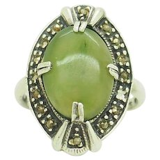 1980's Vintage Sterling Silver/925 Oval Cut Green Jade w/Marcasite Accents Cocktail Ring 7