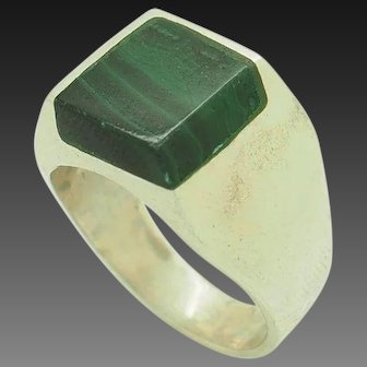 1980's Vintage Sterling Silver/925 Square Green Malachite Solitaire Mens Statement Ring 9.5