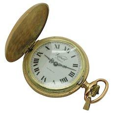 Vintage KELBERT Incabloc 17j, 6/0s Yellow Gold Plated Full Hunter Pocket Watch